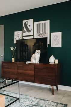 Take a scroll through our wide selection of beautiful mid-century modern sideboards and outfit your home in just a few clicks. Green Accent Walls, Accent Walls In Living Room, Living Room Green, Green Rooms, Bedroom Green, Home Living Room, Living Room Decor, Bedroom Decor, Dark Green Walls