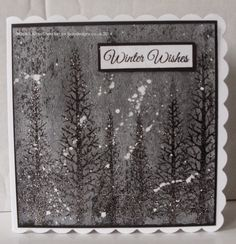 Handmade Christmas card. Woodware Clear Magic Forest stamp set, Imagination Crafts Silkies paints & Sparkle Medium.