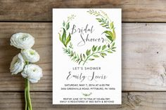 Botanical Bridal Shower Invite | Tropical Bridal Shower Invitation, Printable Bridal Shower Invitation, Leaves, Botanicals, Leaves, Greenery