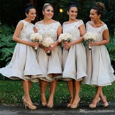 New Gray Short Bridesmaid Dresses 2016 Jewel Appliques Lace Top Knee Length Maid of the Honor Wedding Guest Gowns Plus Size Custom Cheap