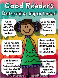 GOOD READERS determine importance!  Improve reading comprehension and prepare students for standardized testing WITHOUT THE BORING WORKSHEETS!  TeacherKarma.com #comprehension #determine