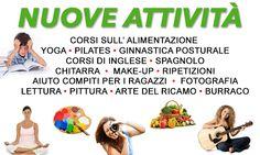 alimentazione yoga pilates inglese ginnastica posturale make up disegno ripetizioni fotografia lettura pittura