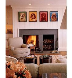 Everything about this fireplace is great, from the wood storage to the paneling and dog art.