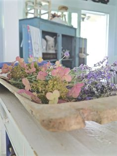 Chateau Chic - European dough bowl filled with lavender and hydrangeas