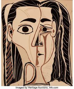 Fine Art - Work on Paper:Print, Pablo Picasso (1881-1973). Jacqueline au bandeau de face (Grandtête de femme), 1962. Linoleum cut in colors on Arches p...