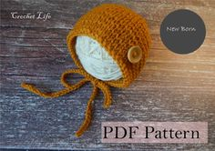 Check out Baby mustard bonnet, PDF Pattern, Knitting pattern, Knit baby hat, Newborn Photo prop, Knit your own, Hat- baby Accessory, button hat on daryacrochetlife