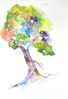 Beautiful Tree Watercolor, Watercolor Print, Tree, Tree Art, Watercolor Tree. $18.00, via Etsy.