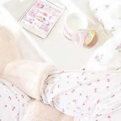 Imagines of pink flowers, very cute pijama with cherries, milk and maybe caramel... Delicious, sweet, magical, cosy...