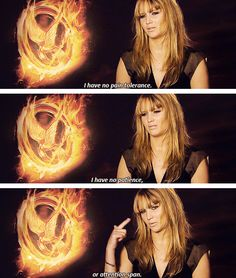 jennifer talking about her low pain tolerance, having no patience and attention span xD Hunger Games Memes, Hunger Games Cast, Hunger Games Trilogy, Jennifer Lawrence Funny, Jennifer Lawrence Hunger Games, Jenifer Lawrance, Josh And Jennifer, Suzanne Collins, Catching Fire