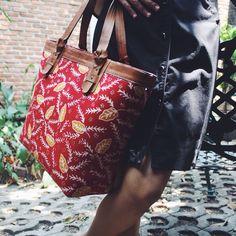 Anjani Tote Bag with Melinjo leaves batik illustration. #djokdjabatik