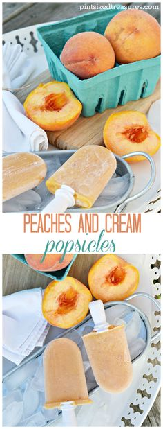 Homemade Peaches and Cream Popsicles are made with greek yogurt, honey and peaches. A healthy, yummy treat that takes minutes to whip up! @alicanwrite