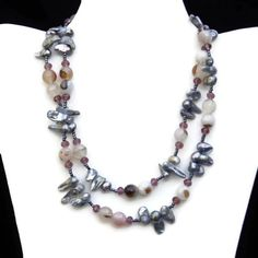 Beautiful natural baroque silver cultured pearls are combined with semiprecious faceted grey and cream agate beads and rose pink Swarovski crystals