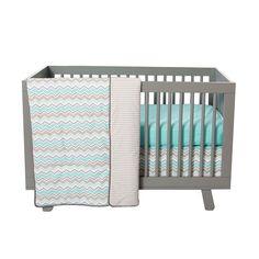 Seashore Waves 3 Piece Crib Bedding Set Nursery Baby Chevron Aqua Sky Quilt  #TrendLab