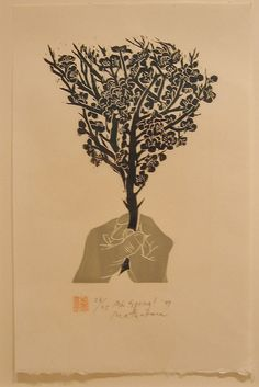 Naoko Matsubara Ah Spring, from the portfolio In Praise of Hands, 1999, Woodcut print, Edition of 25, Image 15 x 10.5 inches, 38 x 27 cm