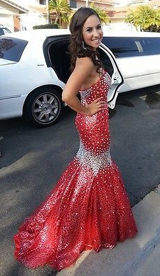 Red Prom Dress Mermaid Crystals Panoply 14459 Size 4.     Just dreaming about this one!! So freakin gorgeous!!!
