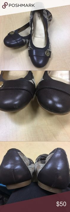 Coach Ballet Flat Shoes These are authentic brown, Coach ballet flat shoes. They are size 7.5 with the signature C's.  They have minor scuffs on the toe and back from normal wear. The left shoe has a small scuff on the inside where the toes have rubbed. They are approximately 9.5 inches long with gold accents and hardware. Beautiful shoes!!!!  Reasonable offers considered. Coach Shoes Flats & Loafers