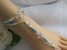 turquoise blue starfish foot jewelry wedding starfish barefoot sandal bridal starfish jewelry anklet