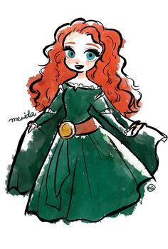 Disney Fan Art, Arte Disney, Disney Love, Disney Pixar, Merida Disney, Disney Doodles, Drawing Cartoon Faces, Pocket Princesses, Disney Face Characters