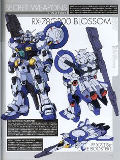 "The RX-78GP00 Gundam ""Blossom"" first appears in the B-Club Gundam -Phantom Bullet magazine, and subsequently Dengeki Hobby Magazine ""Gundam Secret Weapons"" and Gundam Wars series. Although the existence and details of this machine in official plot are disputed, the GP00 is said to be a model tested before 01~04 was designed and was the first of the Gundam Development Project series. The RX-78GP00 Gundam ""Blossom"" is categorized as E.F.S.F. Attack Use Prototype Mo..."
