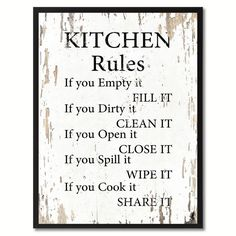 Kitchen wall Art - Kitchen Rules Saying Canvas Print, Black Picture Frame Home Decor Wall Art Gifts. Handmade Home Decor, Cheap Home Decor, Diy Home Decor, Decor Crafts, Diy Crafts, Kitchen Rules, Kitchen Wall Art, Kitchen Sayings, Country Kitchen