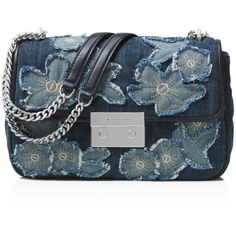 Michael Michael Kors Sloan Chain Large Denim Shoulder Bag ($190) ❤ liked on Polyvore featuring bags, handbags, shoulder bags, michael michael kors, shoulder hand bags, michael michael kors handbags, denim handbags and chain handbags