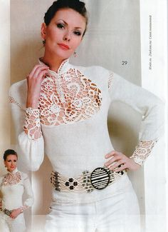 "Photo from album ""Журнал Мод on Yandex. Zhurnal Mod, Irish Crochet, Crochet Projects, One Shoulder, Blouse, Beautiful, Tops, Dresses, Women"