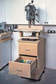 Extendable Drill Press Table Plan - Drill Press Tips, Jigs and Fixtures   WoodArchivist.com