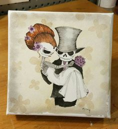 Excited to share the latest addition to my #etsy shop: Dia De Los Muertos, Day of the Dead Couple, wedding gift for couple, skull art, sugar skull art, wedding http://etsy.me/2BgOaMw