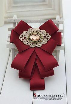 Black bow brooch tie for women. Ribbon Jewelry, Ribbon Art, Diy Ribbon, Ribbon Crafts, Ribbon Bows, Ribbons, Diy Hair Bows, Diy Bow, Fabric Bows