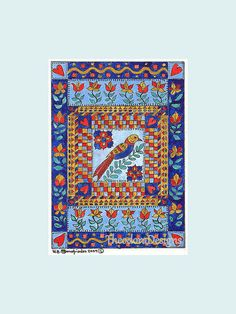 Valentine Fraktur in Blues with by THEODORADESIGNS on Etsy, $7.00