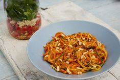 My children adore pesto which is really simple to make from scratch using roasted peppers and tomato. Instead of cooking pasta I serve this dish with courgette and carrot spaghetti. As a top tip, make sure you buy large carrots as medium-sized carrots won Red Pesto, Tomato Pesto, Baby Food Recipes, Gluten Free Recipes, Low Calorie Lunches, Kids Menu, Roasted Red Peppers, Family Meals, Family Recipes
