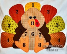 turkey applique by number