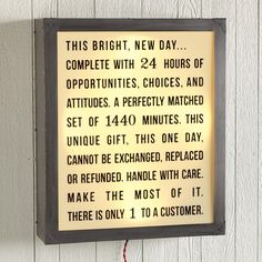 """MOMENTS COUNT LIGHTBOX--Switch it on and make the most of every day. By Rebecca Puig. Aluminum/brass/PVC. USA. Limited edition. Halogen bulbs included. 22""""W x 6""""D x 26""""H."""