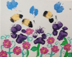 Flowers & bees paw print painting