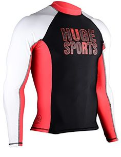 Hugesports Men's Splice UV Sun Protection UPF 50  Skins Rash Guard Small Long Sleeves Red *** You can get more details by clicking on the image.