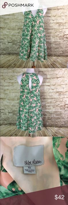 """Chloe Oliver Luxxe Life Coco Cabana Palm Leaf Name Brand: Chloe Oliver  Condition: Pre Owned, excellent condition, no holes, stains or flaws to note  Size: xs(see measurements)  Color: Pinkish and Green  Style: Dress  Material:  Shell 100% Silk  Lining 100% Polyester   Always check the measurements, label sizes are not consistent.   Measurements are approximate, and are of item laying flat and unstreched: Waist: 21"""" Length: 35.5"""" Bust:19"""" Chloe Oliver Dresses"""