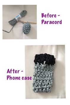 Phone case crocheted with paracord