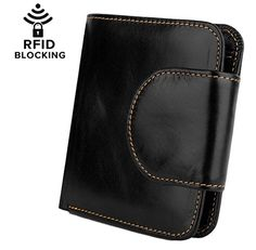 BIG SALE- YALUXE Women's NFC RFID Blocking Leather Small Billfold Wallet (Gift Box) Black * Read more @