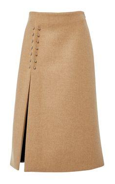 Bonded melange wool pierced slit skirt by Sally Lapointe | Moda Operandi