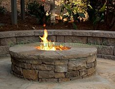 Closer look at the gas burning firepit.