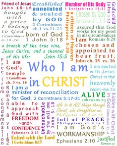 image about Who I Am in Christ Printable Bookmark identified as Ideny within Christ