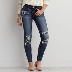 AEO Denim X Jegging (Jeans) ($55) ❤ liked on Polyvore featuring jeans, destroyed denim jeans, stretchy jeans, distressed jeans, destroyed jeans and jegging jeans