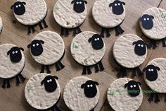 Schaap traktatie - Sheep party treat. Yogurt covered rice biscuits.