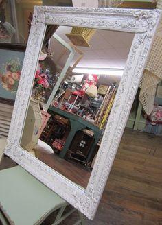 Shabby Ornate White Mirror Carved Shabby Chic by rosesnmygarden, $195.00
