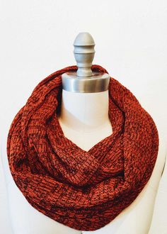 Orange & Black flecked infinity scarf in ribbed knit. Circular design loops around neck. x Wool Loop Scarf, Elegant Outfit, Beautiful Dresses, Infinity, Wool, Orange, Knitting, House, Black