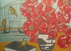 Poppies, First Flight   large relief linocut on pink mulberry. via Etsy.