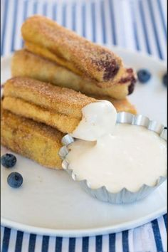 Blueberry French toast roll ups with cream cheese frosting