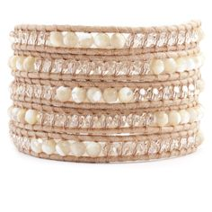 Chan Luu - Natural Mother of Pearl and Crystal Wrap Bracelet on Beige Leather, $195.00 (http://www.chanluu.com/wrap-bracelets/natural-mother-of-pearl-and-crystal-wrap-bracelet-on-beige-leather/)