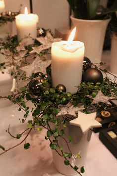 home deco 🍃 ornament bougie candeles botanic christmas noel weihnachten navid… accueil déco 🍃 ornement bougie candeles botanique noël noël noël navidad natale lumière lumiere Christmas Candles, Noel Christmas, Christmas Centerpieces, Rustic Christmas, Xmas Decorations, Christmas Lights, Christmas Wreaths, Christmas Crafts, Christmas Ornaments