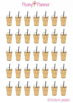 Iced Coffee Planner Stickers | Erin Condren, Kikki K, InkWell, Plum Planner, Scrapbook by PeonyPlanner on Etsy